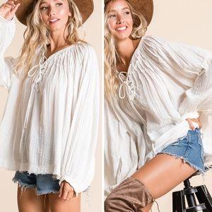 Boho summer blouse IVORY